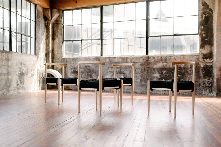 Turned Phloem Studio Harbor Chair, Handmade Modern White Oak and Rope Woven Seat Chair For Sale