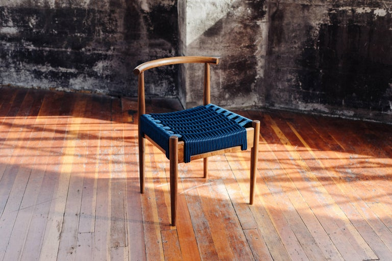 Phloem Studio Harbor Chair, Handmade Modern White Oak and Rope Woven Seat Chair In New Condition For Sale In Stevenson, WA
