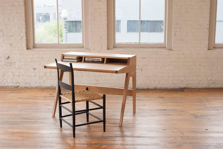 Hand-Crafted Phloem Studio Laura Desk, Handmade Modern Secretary Desk in Walnut or White Oak For Sale