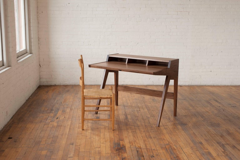 Contemporary Phloem Studio Laura Desk, Handmade Modern Secretary Desk in Walnut or White Oak For Sale