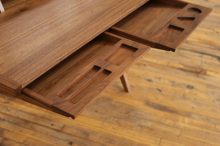 Hardwood Phloem Studio Laura Desk, Handmade Modern Secretary Desk in Walnut or White Oak For Sale
