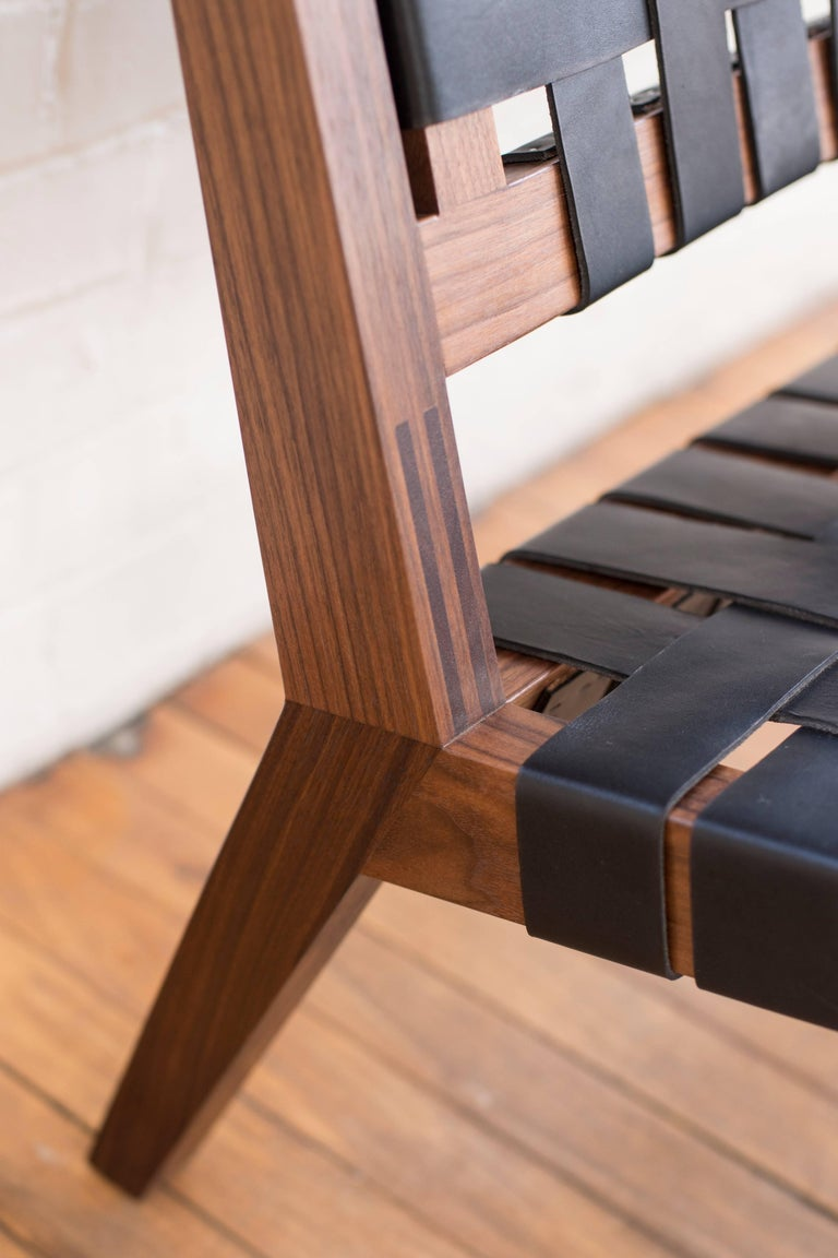 American Phloem Studio Nadine Lounge Chair, Modern Walnut and Leather Strap Lounge For Sale