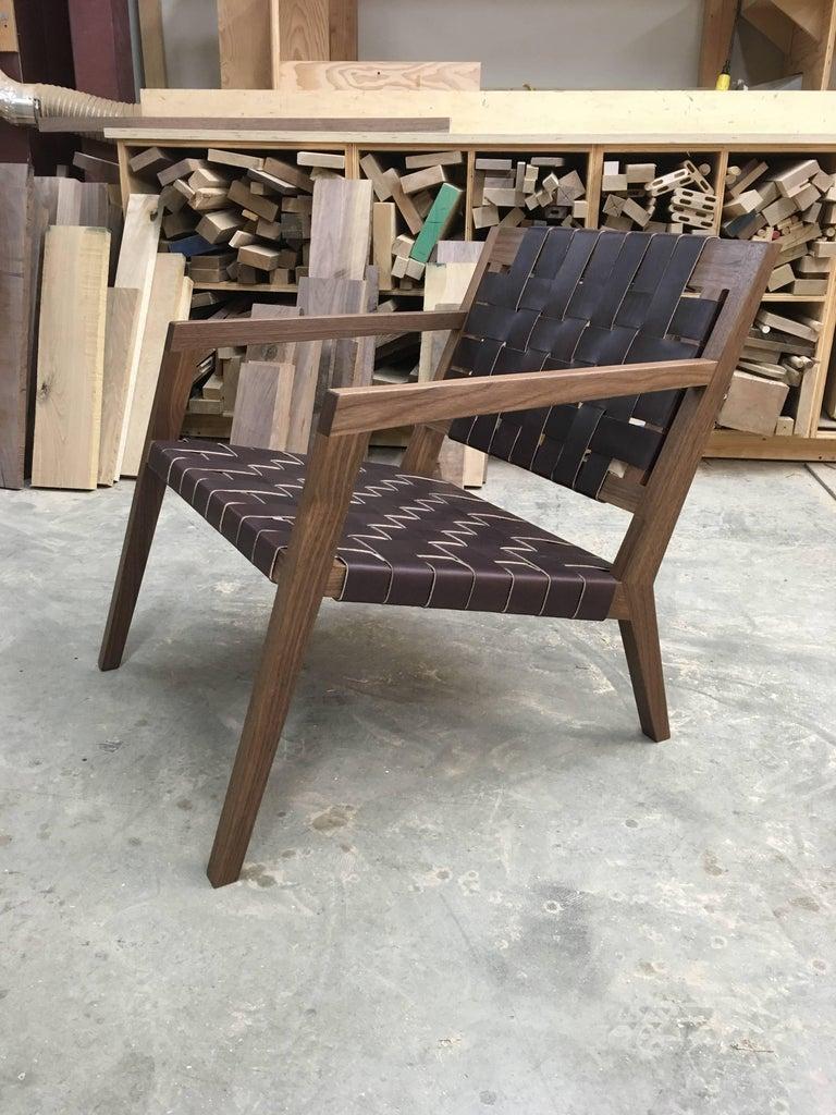 Phloem Studio Nadine Lounge Chair, Modern Walnut and Leather Strap Lounge For Sale 1