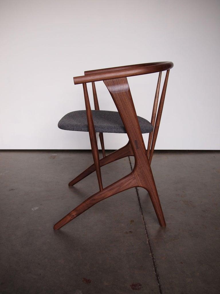 American Phloem Studio Zoe Chair, Handmade Modern Walnut Dining Chair with Upholstery For Sale