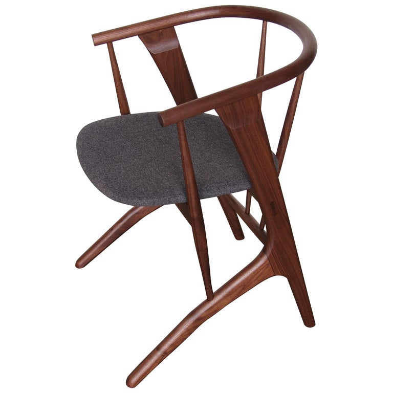 Phloem Studio Zoe Chair, Handmade Modern Walnut Dining Chair with Upholstery For Sale