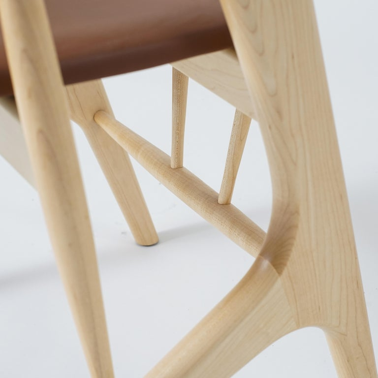 Hand-Crafted Phloem Studio Zoe Chair, Modern Maple Dining Chair with Leather Upholstery For Sale