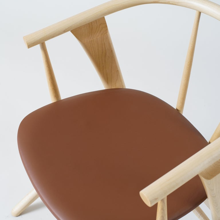 Phloem Studio Zoe Chair, Modern Maple Dining Chair with Leather Upholstery In New Condition For Sale In Stevenson, WA