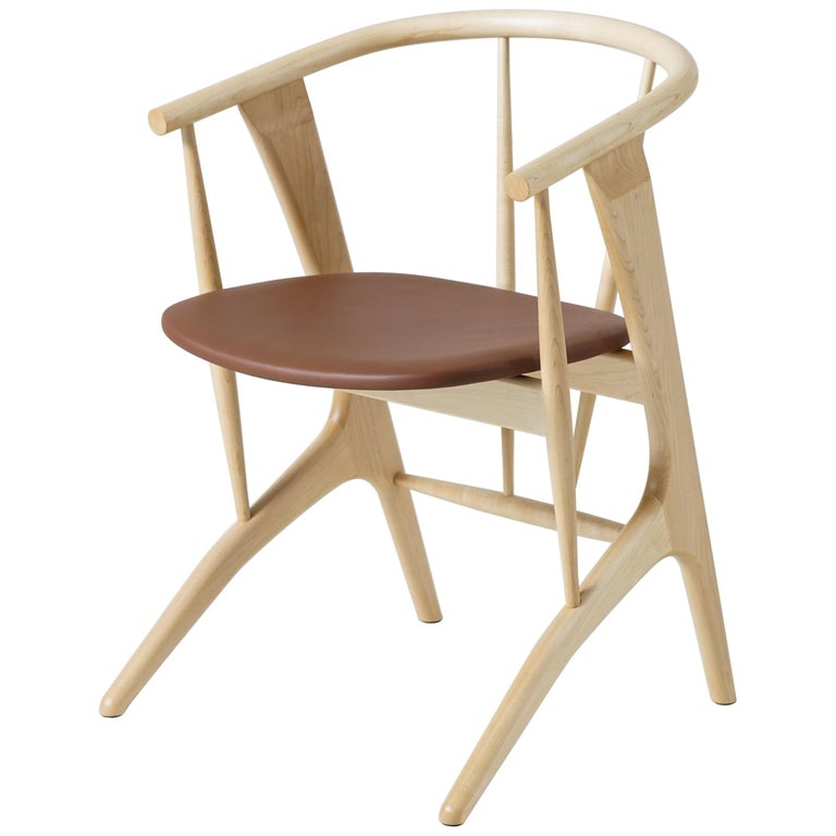 Phloem Studio Zoe Chair, Modern Maple Dining Chair with Leather Upholstery For Sale