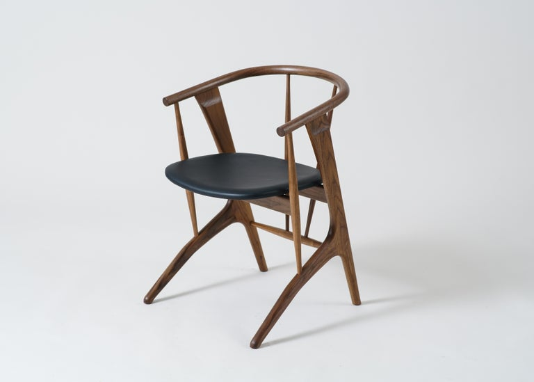 American Phloem Studio Zoe Chair, Modern Walnut Dining Chair with Leather Upholstery For Sale