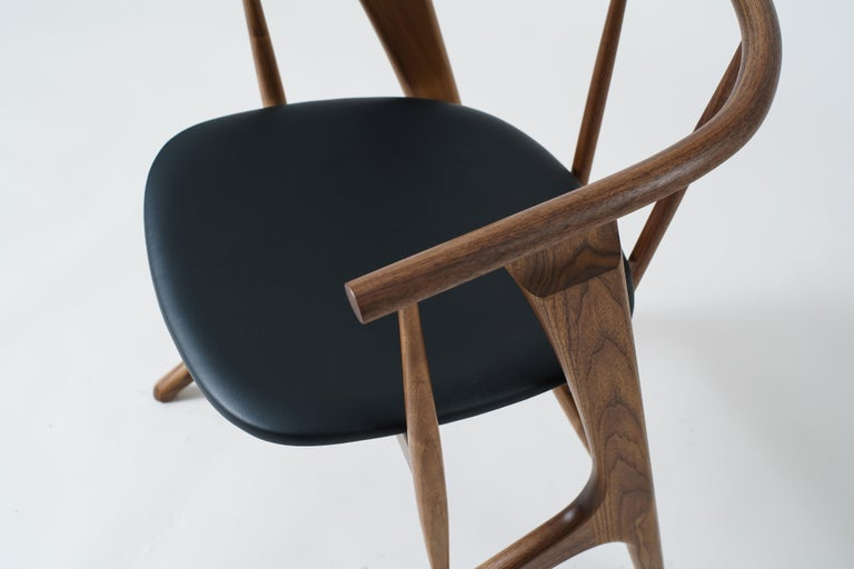 Hand-Crafted Phloem Studio Zoe Chair, Modern Walnut Dining Chair with Leather Upholstery For Sale