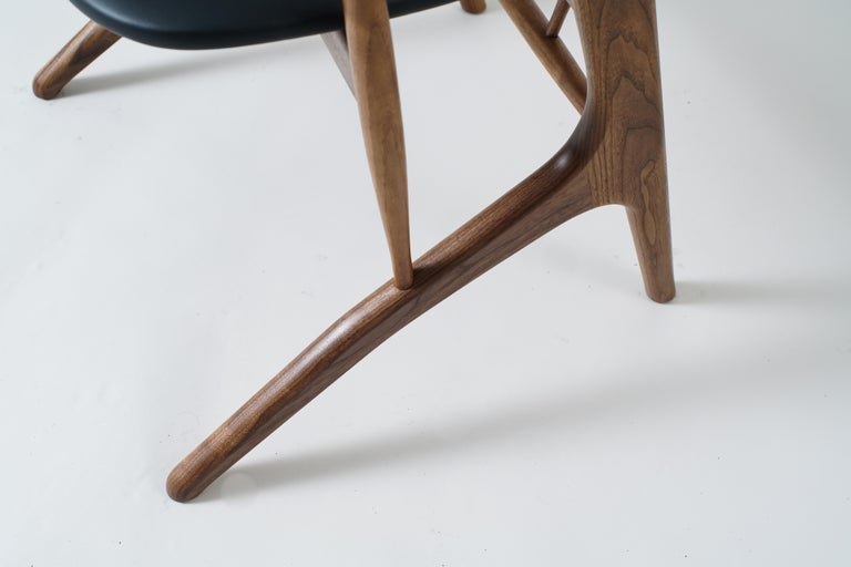 Phloem Studio Zoe Chair, Modern Walnut Dining Chair with Leather Upholstery In New Condition For Sale In Stevenson, WA