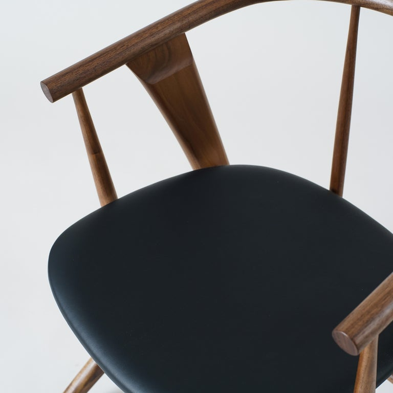 Contemporary Phloem Studio Zoe Chair, Modern Walnut Dining Chair with Leather Upholstery For Sale