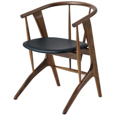 Phloem Studio Zoe Chair, Modern Walnut Dining Chair with Leather Upholstery