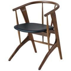 Phloem Studio Zoe Chair, Modern Walnut Dining Chair with Leather Upholstery