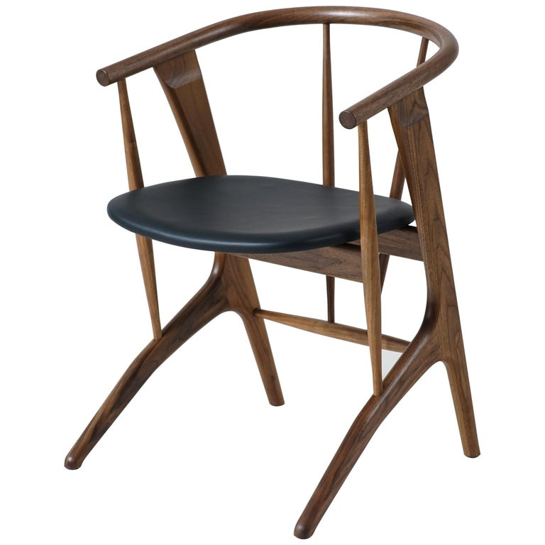 Phloem Studio Zoe Chair, Modern Walnut Dining Chair with Leather Upholstery For Sale