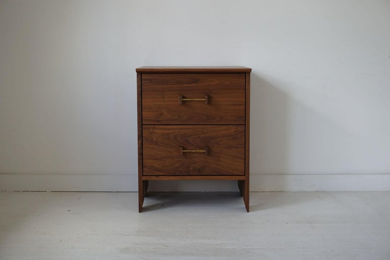The Phoebe side cabinet offers convenient and versatile storage. It can be used as an end table, bed-side table or just as an additional storage piece in the living room or entryway. It is shown in black walnut and can be made to custom sizes with