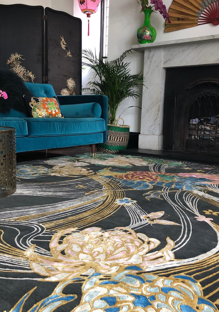 Phoenix Hand Knotted Wool and Silk Rug by Wendy Morrison For Sale 2