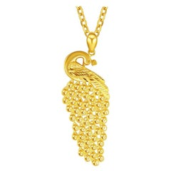 Phoenix Bird Necklace 24K Yellow Gold