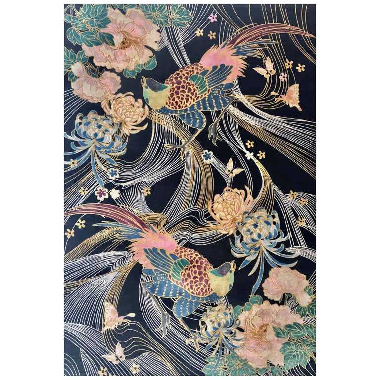 Phoenix Hand Knotted Wool and Silk Rug by Wendy Morrison For Sale