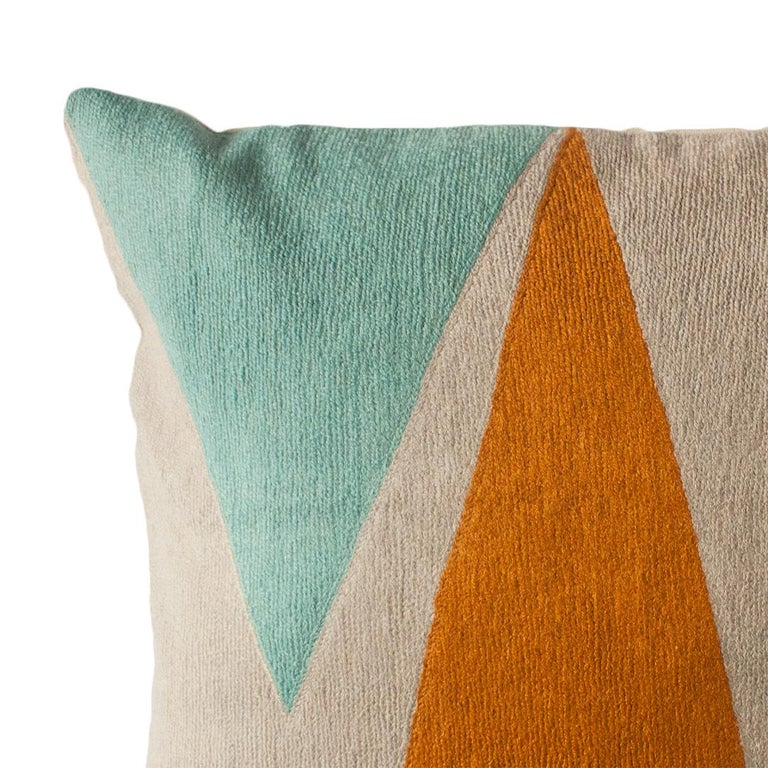 Indian Phoenix Mountain Hand Embroidered Modern Geometric Throw Pillow Cover For Sale