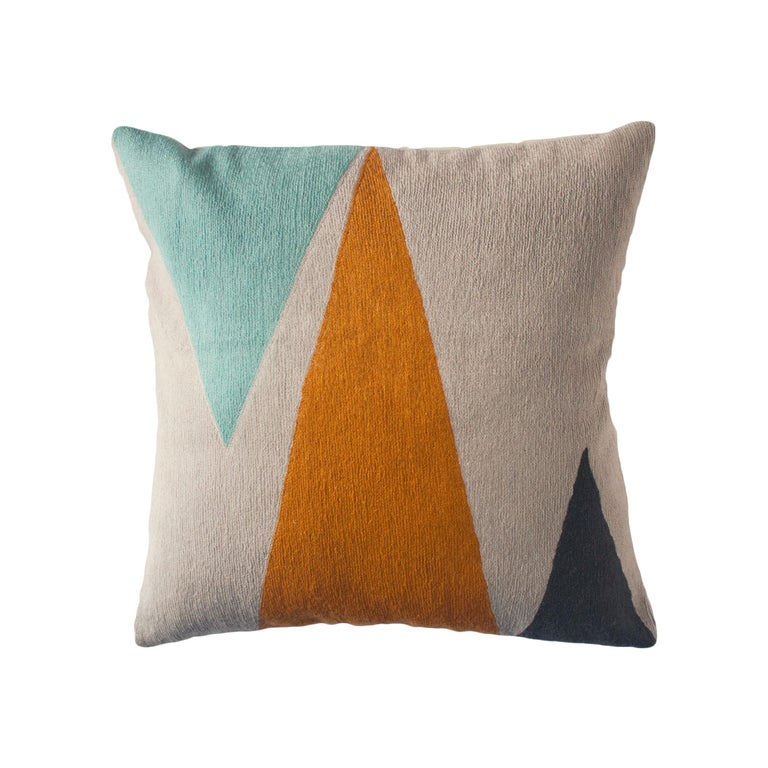 Phoenix Mountain Hand Embroidered Modern Geometric Throw Pillow Cover For Sale