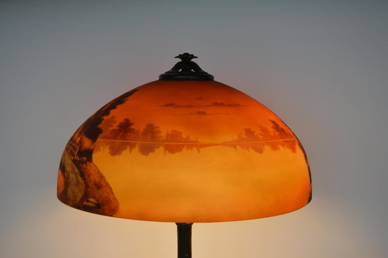 Phoenix Sunset Landscape Table Lamp, France, circa 1920s For Sale 3