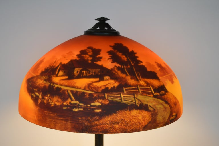 Other Phoenix Sunset Landscape Table Lamp, France, circa 1920s For Sale