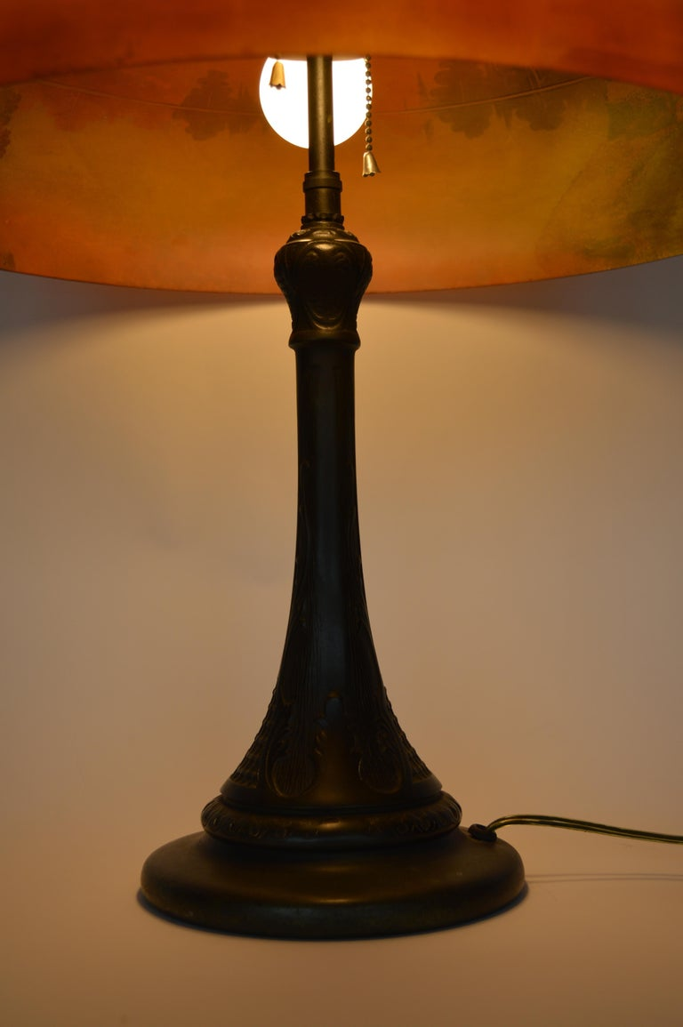 Phoenix Sunset Landscape Table Lamp, France, circa 1920s In Good Condition For Sale In Los Angeles, CA