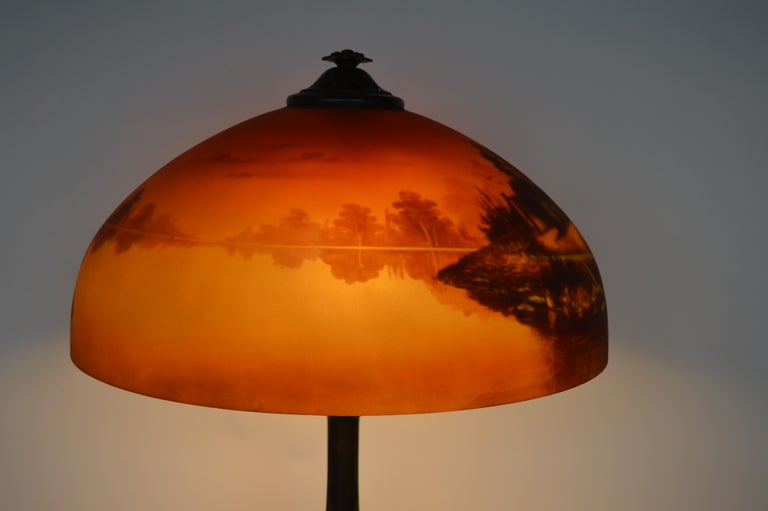 Metal Phoenix Sunset Landscape Table Lamp, France, circa 1920s For Sale