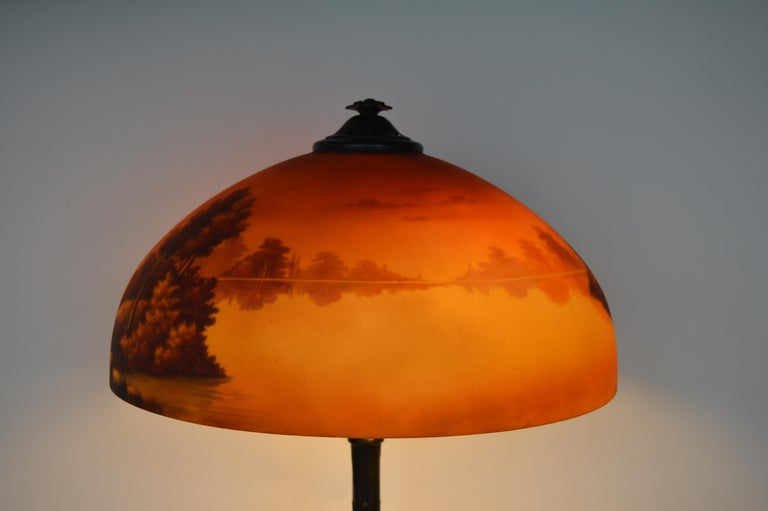 Phoenix Sunset Landscape Table Lamp, France, circa 1920s For Sale 1