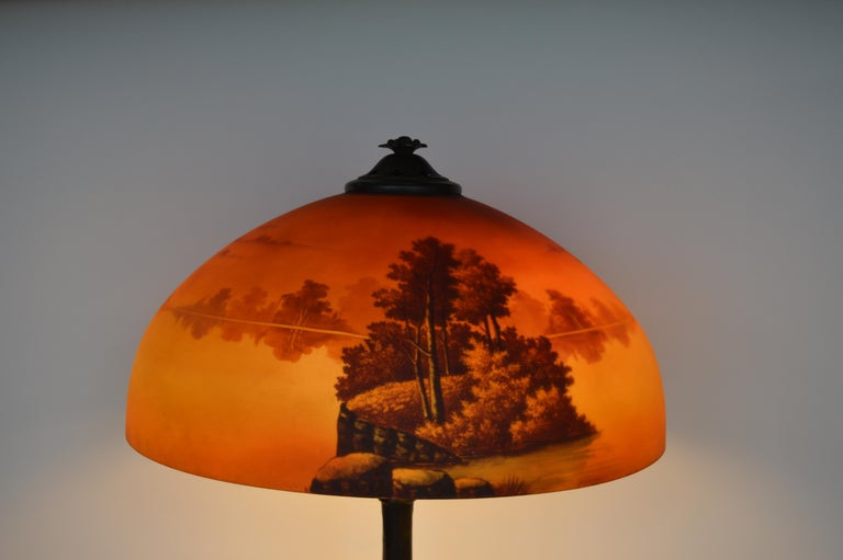 Phoenix Sunset Landscape Table Lamp, France, circa 1920s For Sale 2