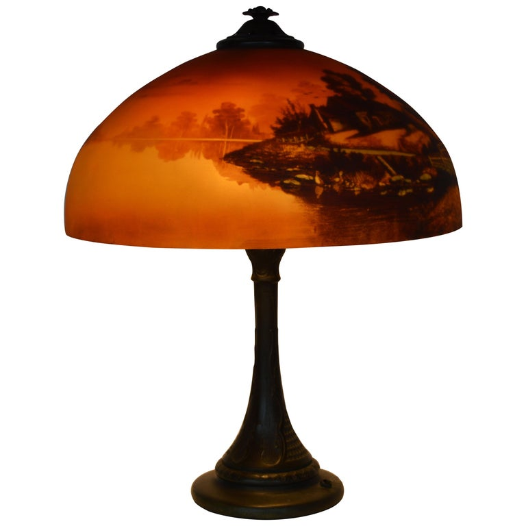 Phoenix Sunset Landscape Table Lamp, France, circa 1920s For Sale