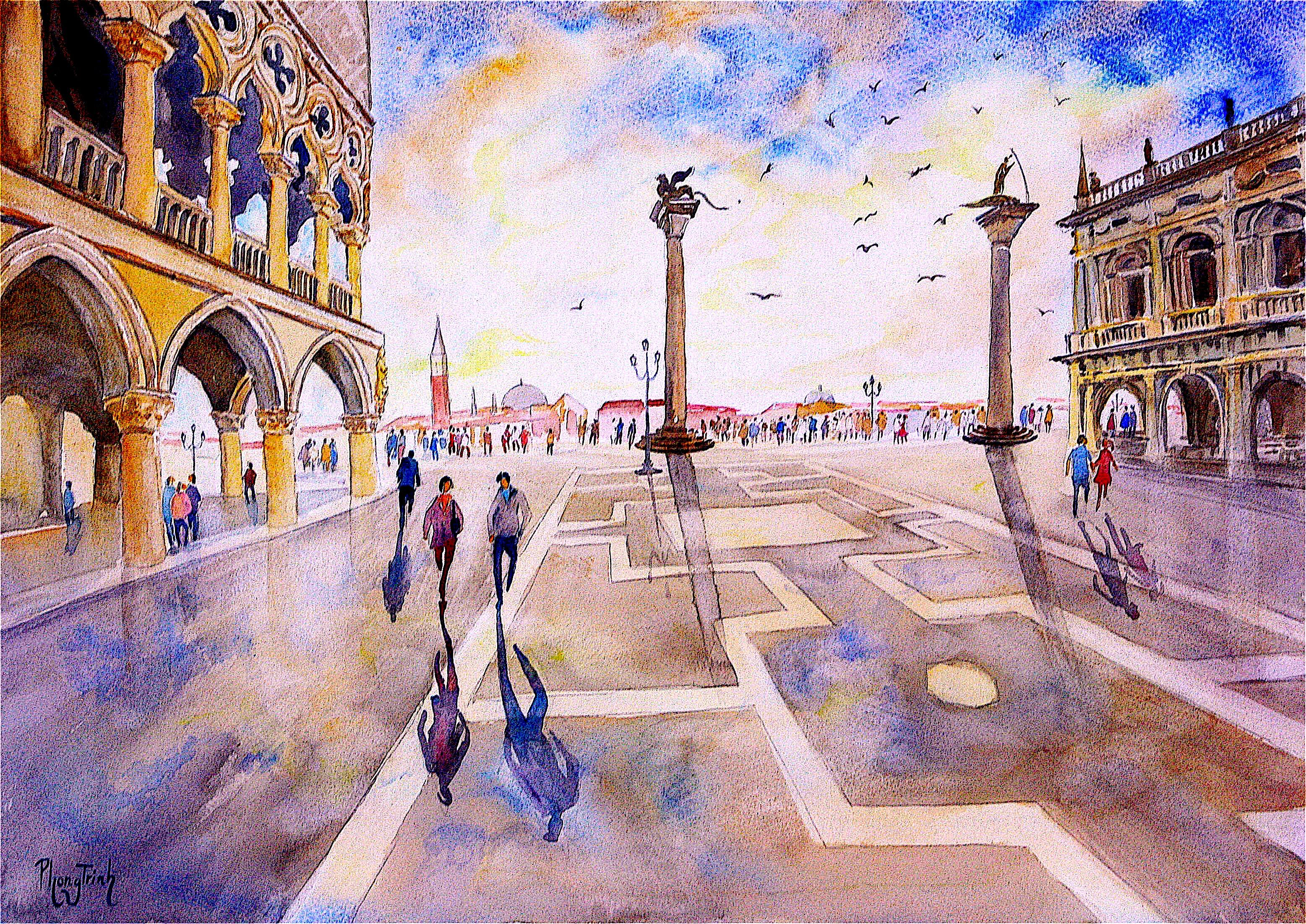 After the Rain, Piazza San Marco, Original Watercolor on Paper, Italy Painting