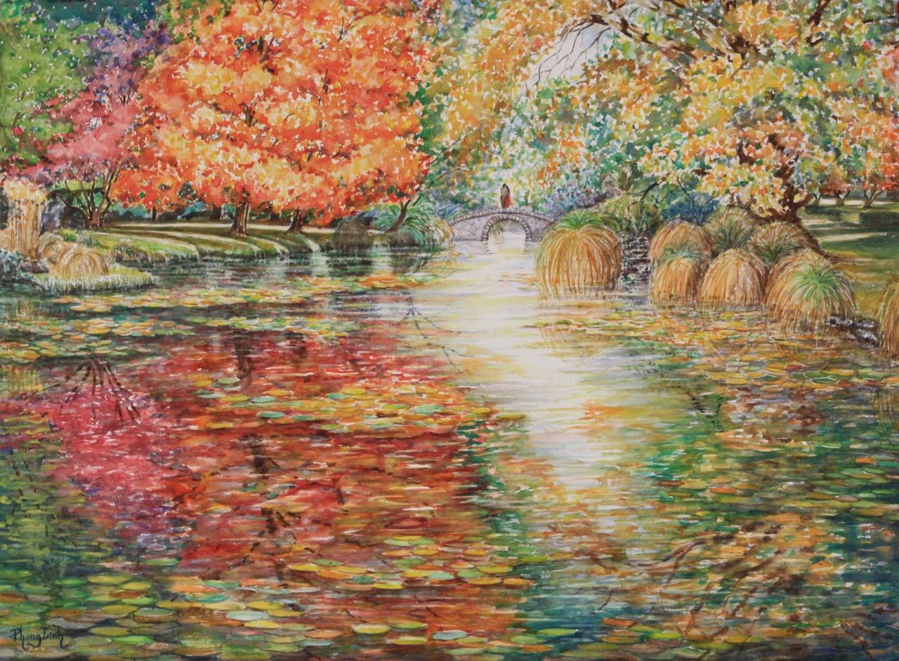 An Autumn With You, Contemporary Watercolor Painting, Impressionism