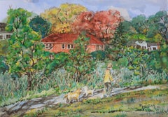 Morning in the Park, Original Watercolor on Paper, Contemporary Landscape Art