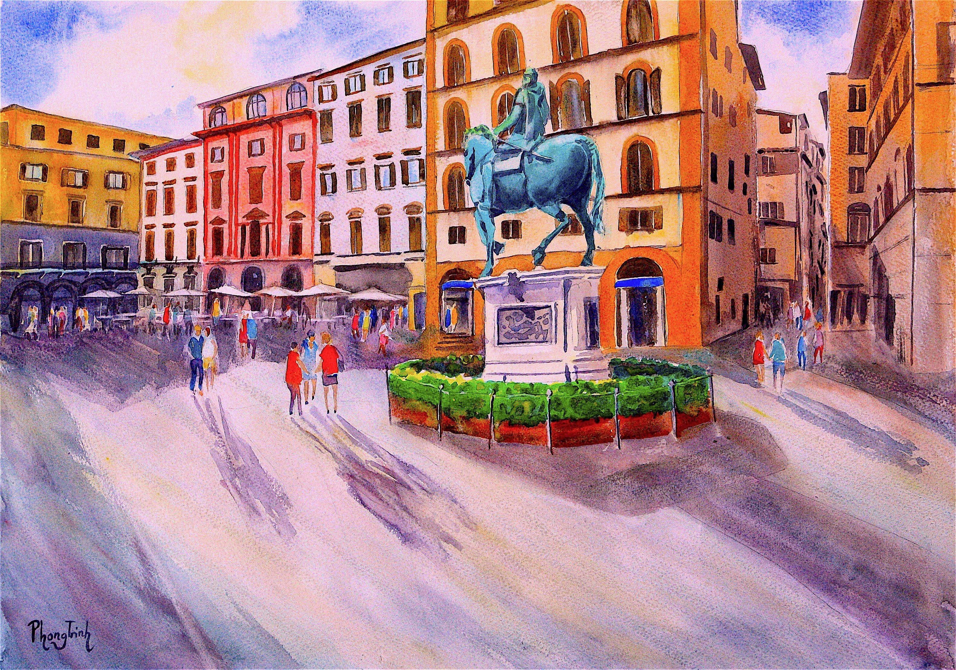 Piazza Della Signoria, Original Watercolor on Paper, Contemporary Italy Painting