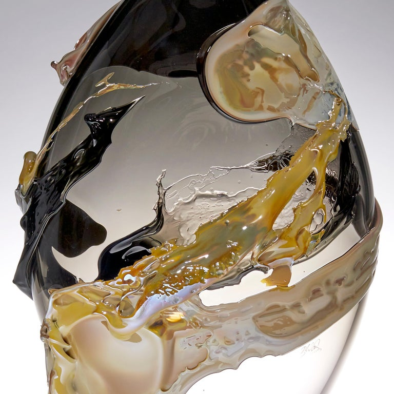 Hand-Crafted Phosphorus, a Unique Black, Brown, Amber and Smoke Glass Vase by Bethany Wood For Sale