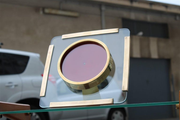 Photo Frame in Gold Brass and Thick Glass Italian Design 1970s Square For Sale 1