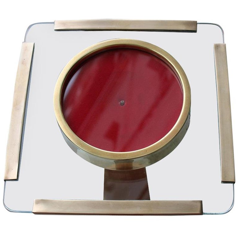 Photo Frame in Gold Brass and Thick Glass Italian Design 1970s Square For Sale