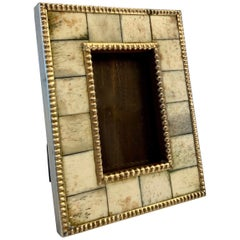 Photo Frame of Cut Bone Trimmed in Pebbled Brass