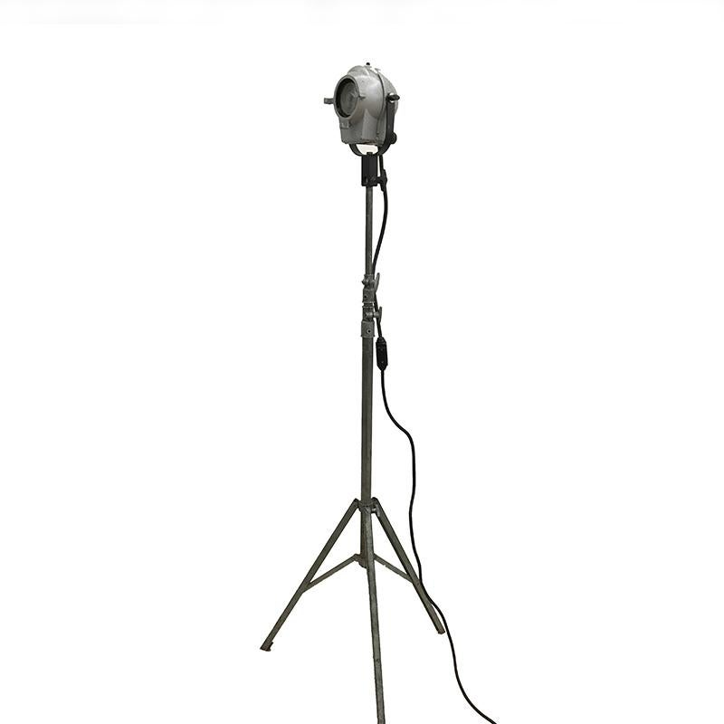 Photo Spotlight or Floor Lamp Tripod Stand with Spotlight Industrial Style 1950s