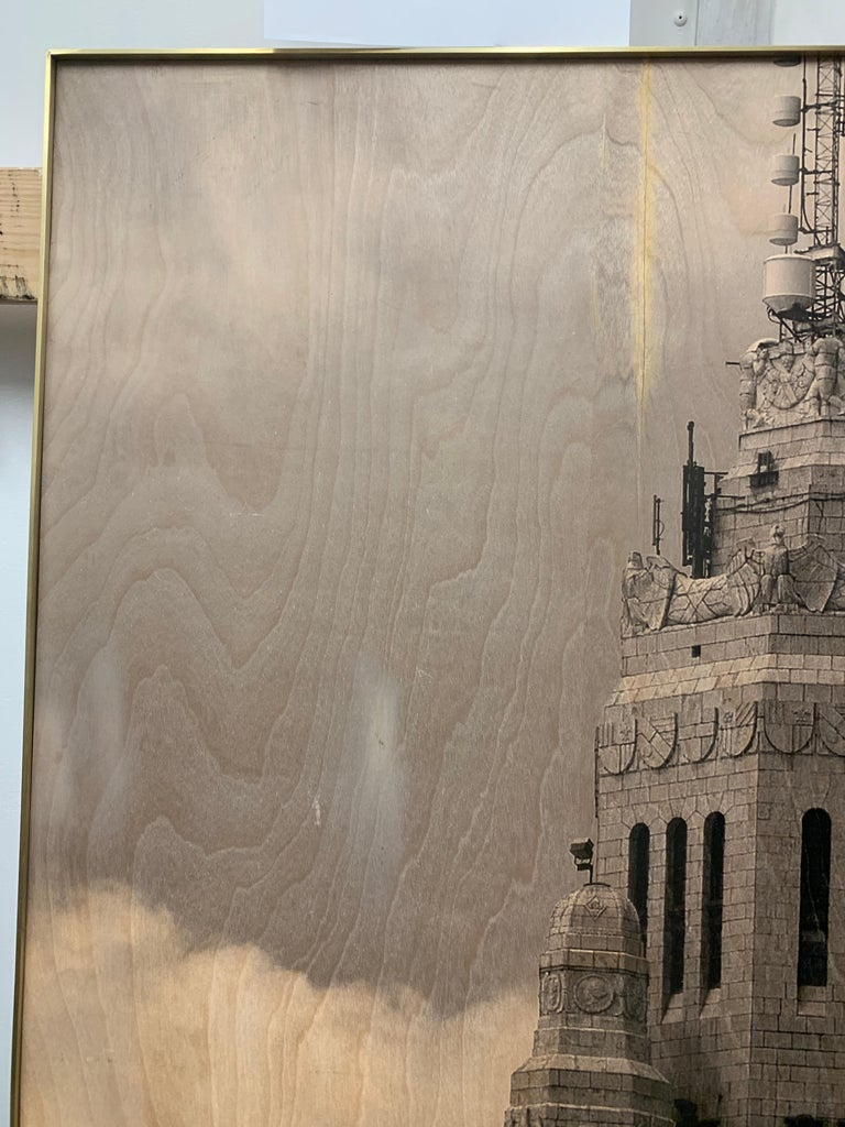 Photo Transfer on Wood with Brass Frame, Leveque Tower For Sale 7