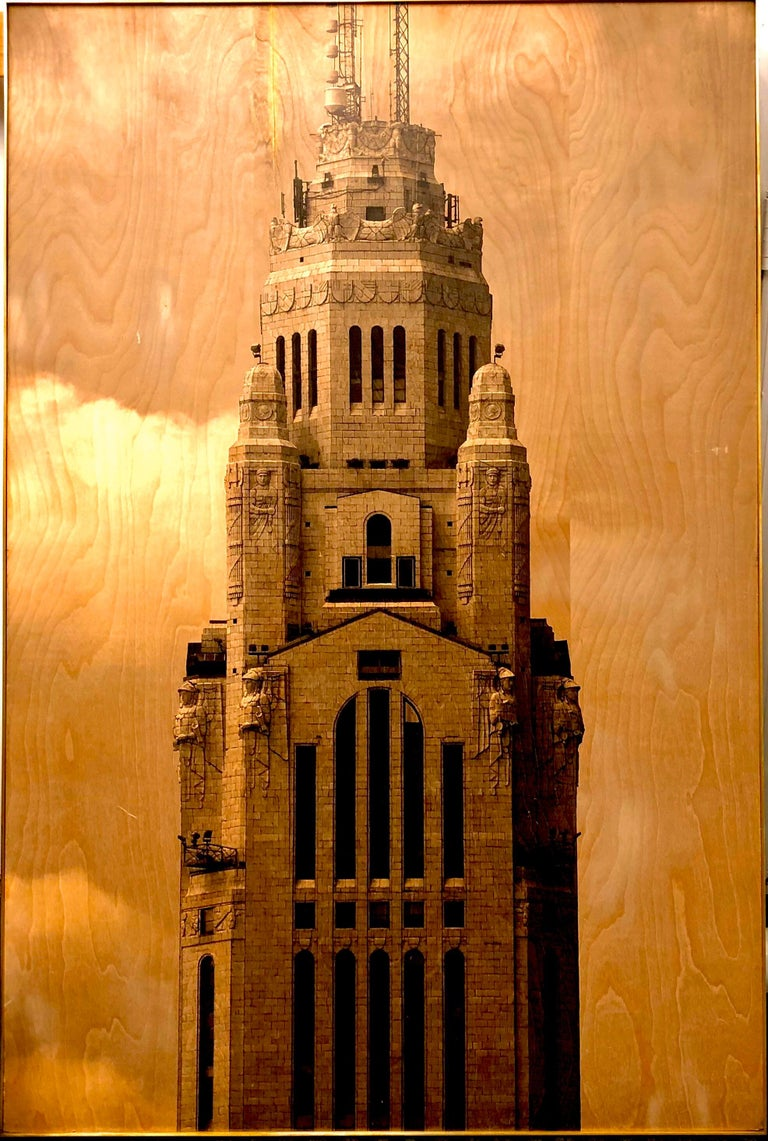 This brass trimmed framed photo print with details of wood grain and wonderful black print with excellent clarity. A wonderful piece of wall art.
