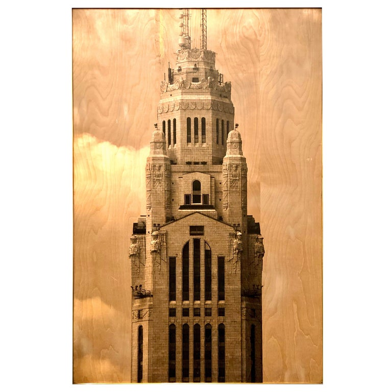 Photo Transfer on Wood with Brass Frame, Leveque Tower For Sale