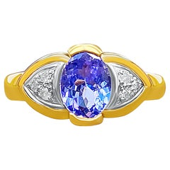 """Photos """"Evil Eye"""" 1.06ct Oval Cut Tanzanite and Diamond and 14K Yellow Gold Ring"""