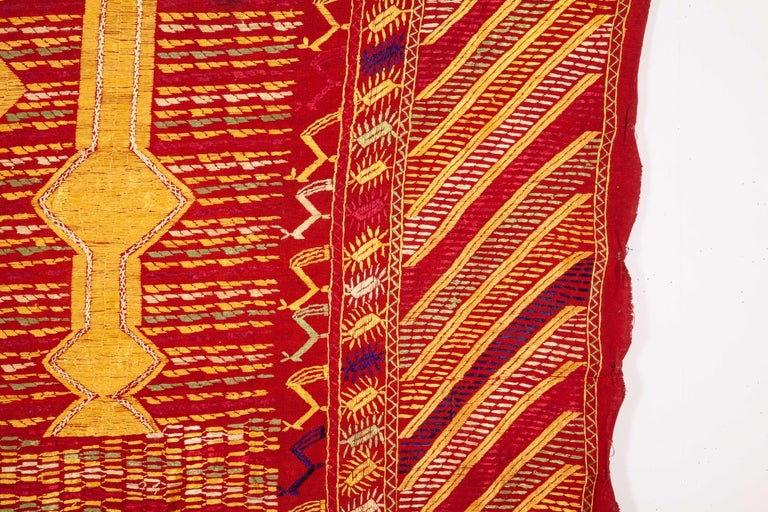 Embroidered Phulkari Wedding Shawl, Silk Embroidery on Cotton, Early 20th Century For Sale