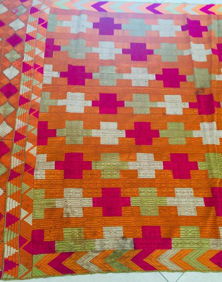 Phulkari Wedding Shawl, Silk Embroidery on Cotton, Punjab India, 20th Century For Sale 9