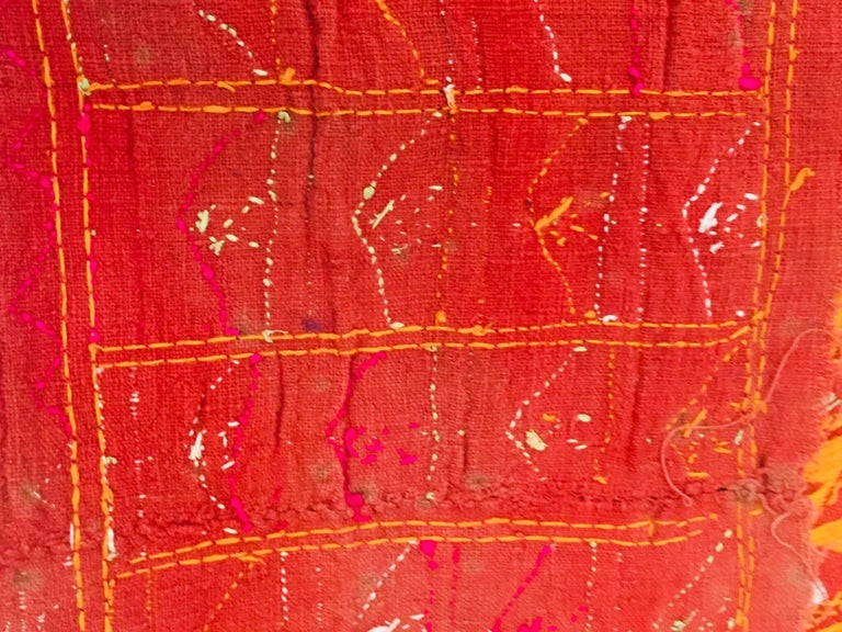 Phulkari Wedding Shawl, Silk Embroidery on Cotton, Punjab India 20th Century For Sale 12