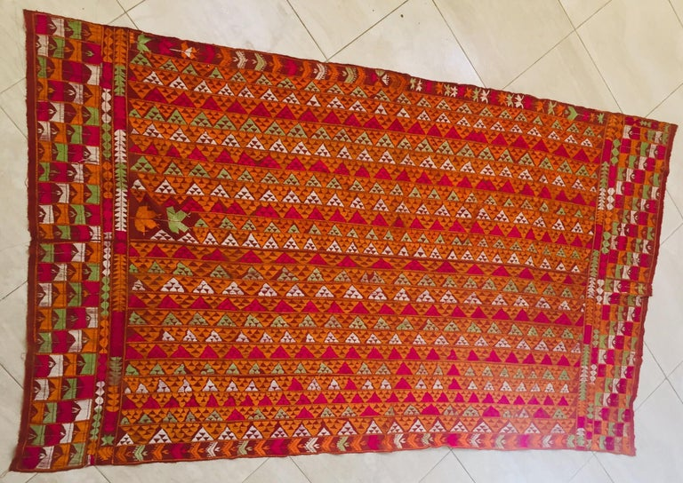 Tribal Phulkari Wedding Shawl, Silk Embroidery on Cotton, Punjab India 20th Century For Sale