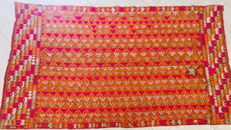 Indian Phulkari Wedding Shawl, Silk Embroidery on Cotton, Punjab India 20th Century For Sale